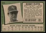 1971 Topps #646  Bobby Floyd  Back Thumbnail