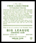1933 Goudey Reprint #133  Freddy Lindstrom  Back Thumbnail