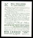 1934 Goudey Reprint #82  Bill Hallahan  Back Thumbnail