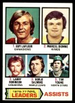 1977 Topps #2   -  Guy LaFleur / Marcel Dionne / Larry Robinson / Borje Salming / Tim Young NHL Assists Leaders Front Thumbnail
