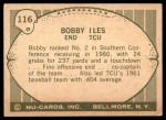 1961 Nu-Card #116  Bobby Iles  Back Thumbnail
