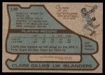 1979 Topps #130  Clark Gillies  Back Thumbnail