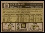 1961 Topps #427  Dick Ellsworth  Back Thumbnail