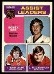 1975 O-Pee-Chee NHL #209   -  Pete Mahovlich Assists Leaders Front Thumbnail