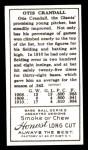 1911 T205 Reprint #41  Doc Crandall  Back Thumbnail