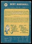 1969 O-Pee-Chee #80  Bert Marshall  Back Thumbnail