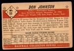 1953 Bowman B&W #55  Don Johnson  Back Thumbnail