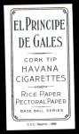 1909 T206 Reprint #99  Cad Coles  Back Thumbnail