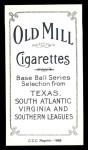 1909 T206 Reprint #85 PNK Hal Chase  Back Thumbnail