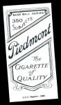 1909 T206 Reprint #53 xCAP Al Bridwell  Back Thumbnail