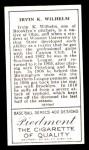 1911 T205 Reprint #202  Kaiser Wilhelm  Back Thumbnail