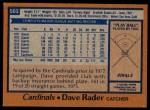 1978 Topps #563  Dave Rader  Back Thumbnail