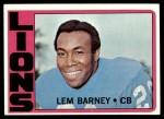 1972 Topps #42  Lem Barney  Front Thumbnail