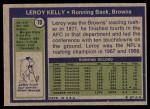 1972 Topps #70  Leroy Kelly  Back Thumbnail