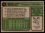 1974 Topps #73  Mike Marshall  Back Thumbnail
