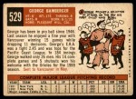 1959 Topps #529  George Bamberger  Back Thumbnail