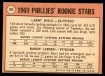 1969 Topps #206   -  Larry Hisle / Barry Lersch Phillies Rookies Back Thumbnail