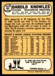 1968 Topps #483  Darold Knowles  Back Thumbnail