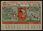 1956 Topps #237  Jose Valdivielso  Back Thumbnail