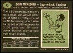 1969 Topps #75  Don Meredith  Back Thumbnail