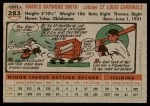 1956 Topps #283  Hal R. Smith  Back Thumbnail