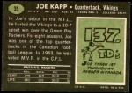 1969 Topps #35  Joe Kapp  Back Thumbnail