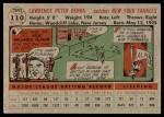 1956 Topps #110 GRY Yogi Berra  Back Thumbnail