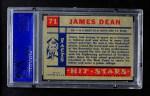 1957 Topps Hit Stars #71  James Dean  Back Thumbnail