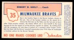 1954 Johnston Cookies #35  Bob Keely  Back Thumbnail