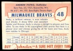 1955 Johnston Cookies #48  Andy Pafko  Back Thumbnail