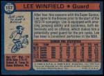 1974 Topps #157  Lee Winfield  Back Thumbnail