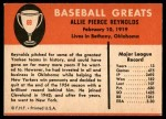 1961 Fleer #69  Allie Reynolds  Back Thumbnail