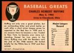 1961 Fleer #74  Red Ruffing  Back Thumbnail