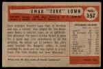 1954 Bowman #157  Omar Lown  Back Thumbnail