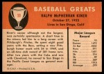 1961 Fleer #50  Ralph Kiner  Back Thumbnail