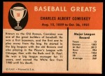 1961 Fleer #18  Charles Comiskey  Back Thumbnail