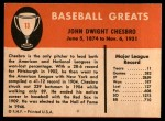 1961 Fleer #13  Jack Chesbro  Back Thumbnail
