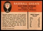 1961 Fleer #69  Allie Reynolds  Back Thumbnail