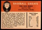 1961 Fleer #85  Paul Waner  Back Thumbnail