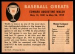 1961 Fleer #83  Ed Walsh  Back Thumbnail