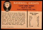 1961 Fleer #84  Lloyd Waner  Back Thumbnail