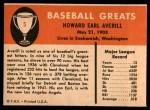 1961 Fleer #5  Earl Averill  Back Thumbnail
