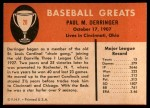 1961 Fleer #20  Paul Derringer  Back Thumbnail