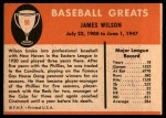 1961 Fleer #88  Jimmy Wilson  Back Thumbnail