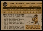 1960 Topps #324  Jim Perry  Back Thumbnail