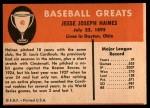 1961 Fleer #40  Jesse Haines  Back Thumbnail