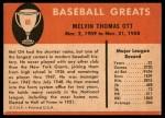 1961 Fleer #68  Mel Ott  Back Thumbnail