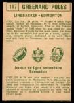 1968 O-Pee-Chee #117   -  Greenard Poles   Back Thumbnail