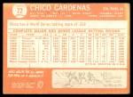 1964 Topps #72  Leo 'Chico' Cardenas  Back Thumbnail