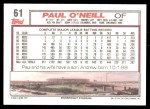 1992 Topps #61  Paul O'Neill  Back Thumbnail